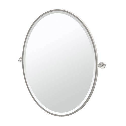 Glam Framed Large Oval Mirror Satin Nickel