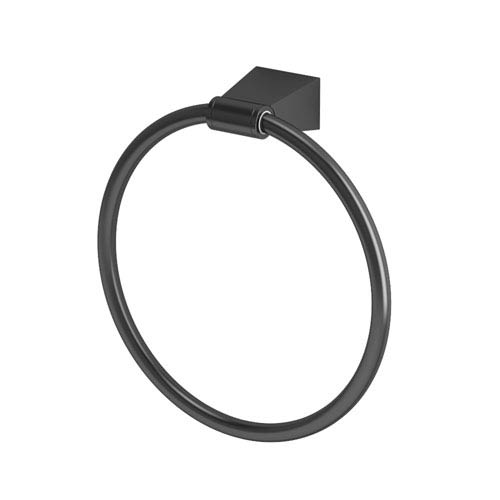 Gatco Bleu Matte Black Towel Ring