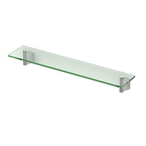 Bleu Satin Nickel 20-Inch Glass Shelf