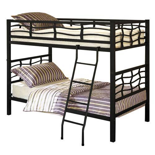 Black Twin Bunk Bed with Adjustable Ladder