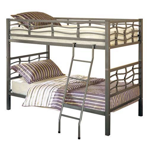 Silver Twin Bunk Bed with Adjustable Ladder