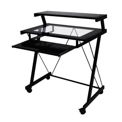 Home Source Industries Clear Black Glass Computer Cart