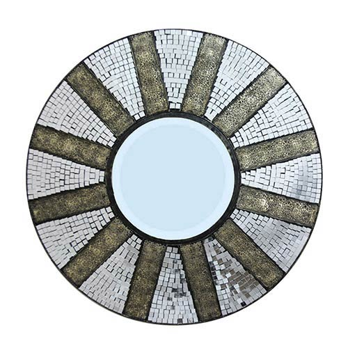 Grey Twelve-Paneled Mosaic Tiled Round Wall Mirror