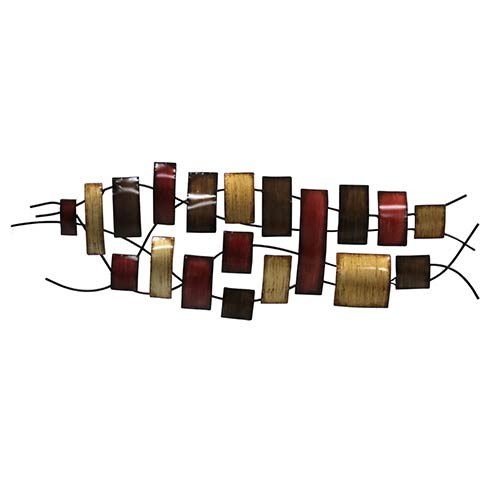 Maroon, Beige and Brown Rectangles of Various Sizes Wall Decor