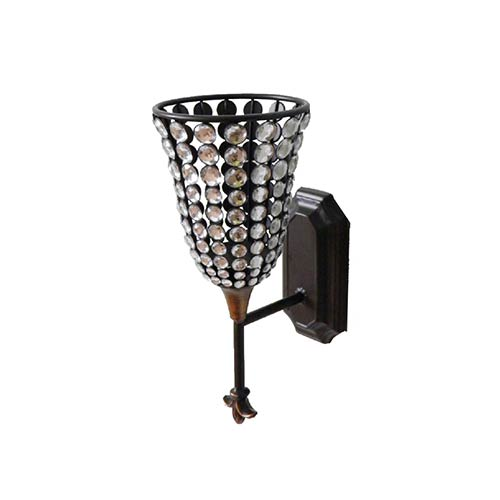 Brown and Black Jeweled Candle Holder Wall Sconce