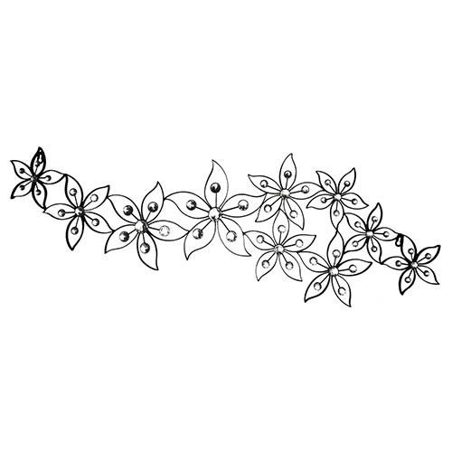 Black and Silver Jeweled Flower Wall Decor
