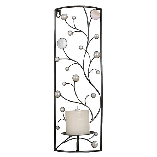 Pearl and Black Rectangular Frame in Vines Candle Holder Wall Sconce