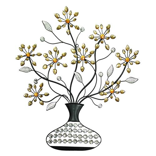 Gold, Orange and Black Jeweled Vase Wall Decor with Flower