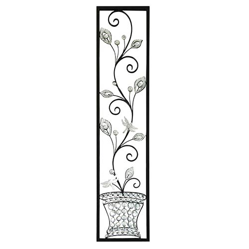 Silver and Black Crystal Vase Wall Decor with Stem