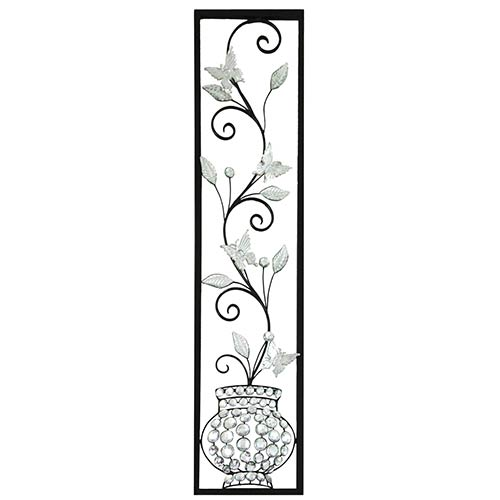 Black and Silver Crystal Vase Wall Decor with Butterfly