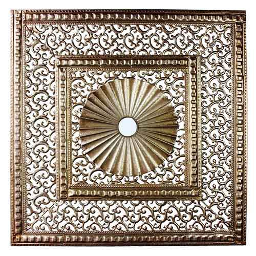 Gold Two-Square Wall Hanging Decor with Circle