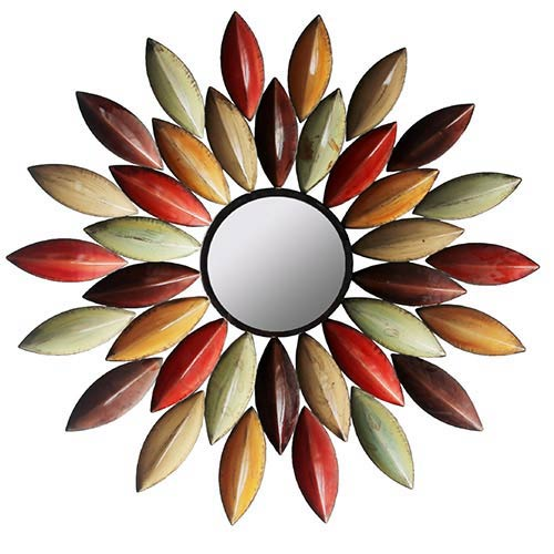 Multicolor Feathered Round Wall Mirror