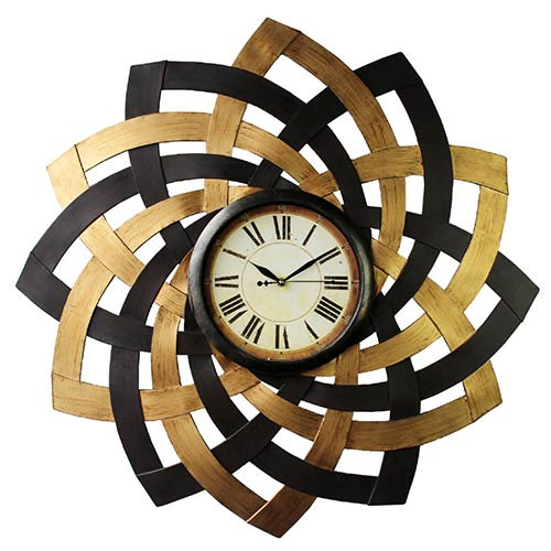 Black, Beech and Maple Metal Petal Wall Clock