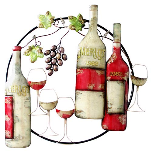 Multicolor Circle Wall Decor with Wine Bottle