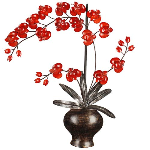 Red and Bronze Flowers in Pot Wall Hanging Decor