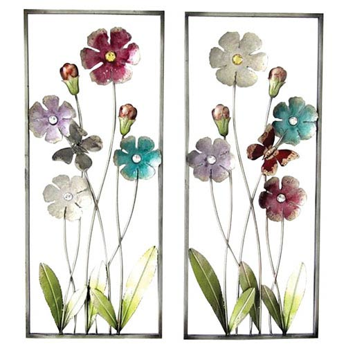 Multicolor Flower and Bud Wall Decor, Set of Two