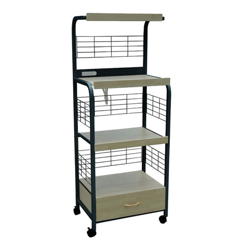 Home Source Industries Beech And Black Metal Microwave Cart