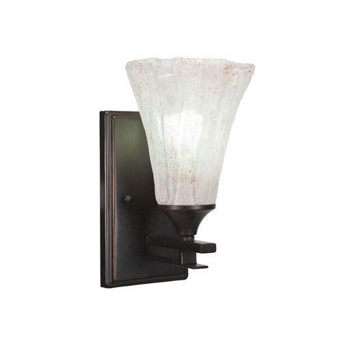 Uptowne Dark Granite One-Light Wall Sconce with Italian Ice Glass