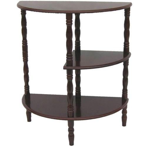 Mahogany Half Moon End Table with Lower Shelf