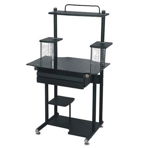 Black Tall Computer Cart