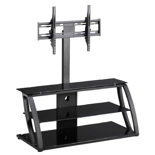 Black TV Stand with Metal Shelves