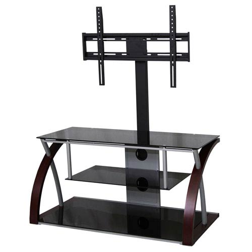 Black and Espresso TV Stand with Silver Trim