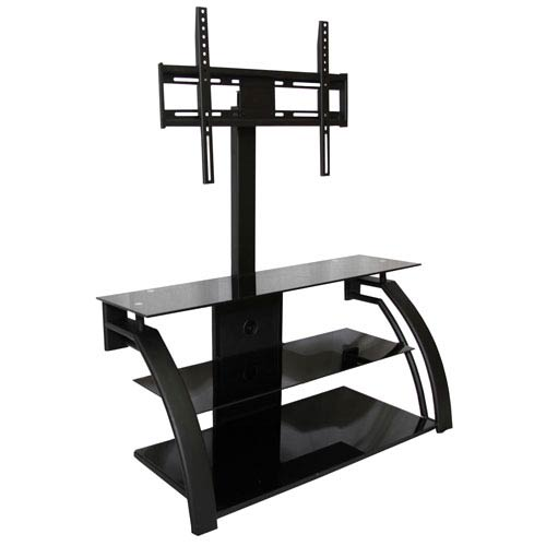 Black Curved TV Stand with Metal Shelves