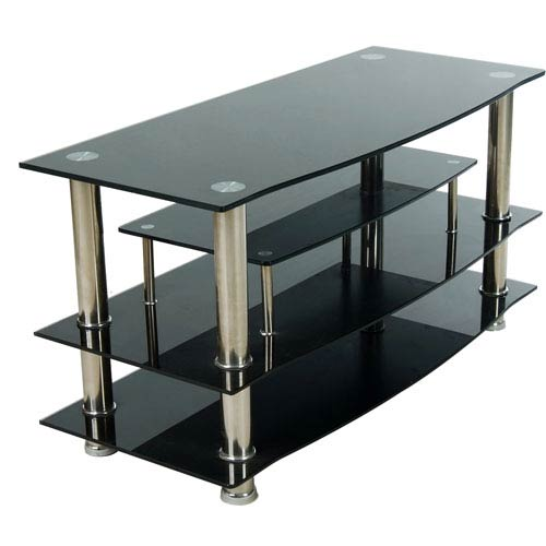 Black Three Shelf Plasma TV Stand