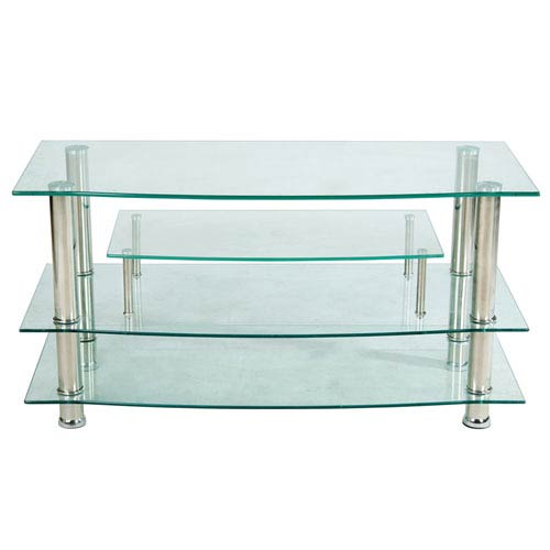 Clear Glass Three-Shelf Plasma TV Stand
