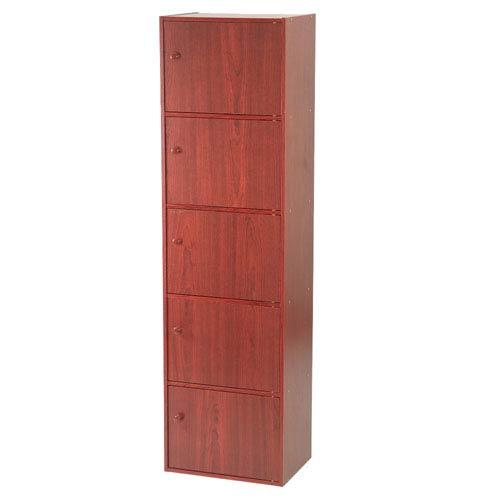 Mahogany Five-Door Utility Cabinet
