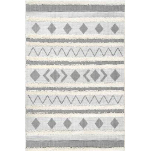 Tribal Lora Off White Rectangular: 5 Ft. 3 In. x 7 Ft. 7 In. Rug