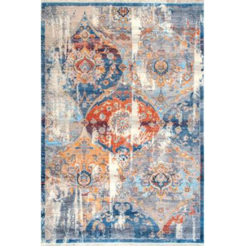 Zenia Floral Blue Rectangular: 6 Ft. 7 In. x 9 Ft. 4 In. Rug