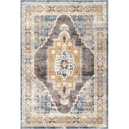 Stacey Medallion Blue Rectangular: 6 Ft. 7 In. x 9 Ft. Rug