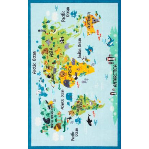 Animal World Map Baby Blue Rectangular: 4 Ft. 4 In. x 6 Ft. Rug