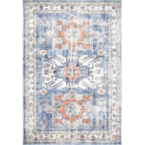 Vintage Rebecca Floral Dark Blue Rectangular: 6 Ft. 7 In. x 9 Ft. Rug
