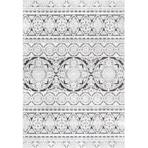 Jeannie Floral Black and White Rectangular: 6 Ft. 7 In. x 9 Ft. Rug
