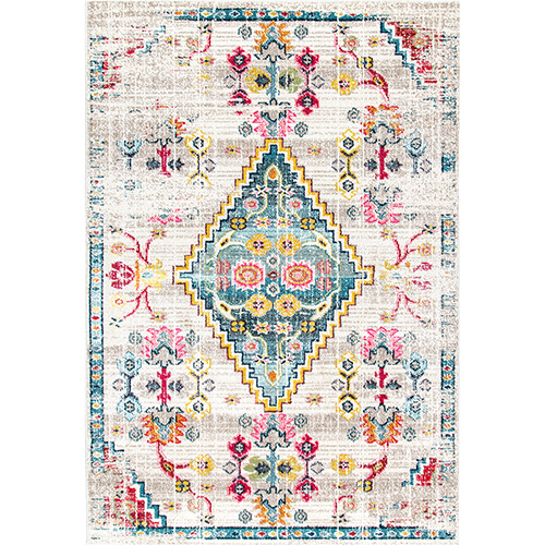 Ivory Fading Floral Gabbeh Leahy Rectangular: 5 Ft. x 8 Ft.