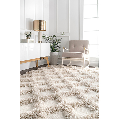 Francene Diamon Trellis Shaggy Ivory Rectangular: 4 Ft. x 6 Ft. Rug