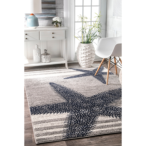 Thomas Paul Starfish Grey Rectangular: 4 Ft. x 6 Ft. Rug