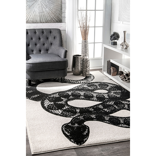 Thomas Paul Serpent Black and White Rectangular: 5 Ft. x 8 Ft. Rug