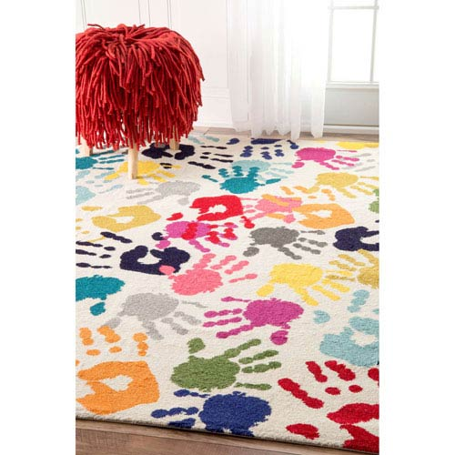 Pinkie Handprint Multicolor Rectangular: 3 Ft. x 5 Ft. Rug