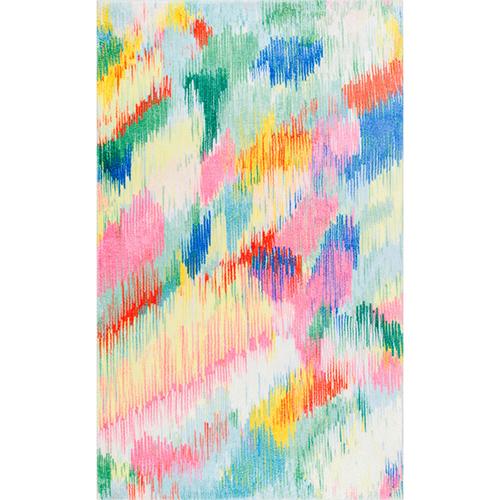 Multicolor Surreal Canvas Raye Shaggy Rectangular: 3 Ft. x 5 Ft.