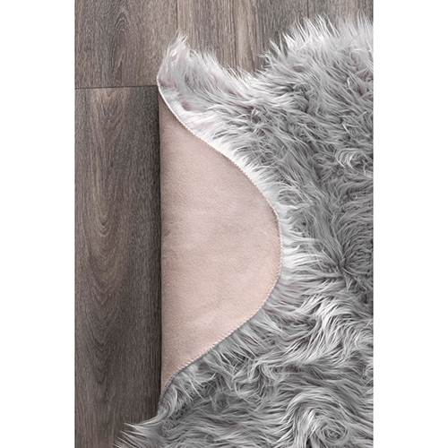 Terrell Solid Faux Sheepskin Light Grey Runner: 2 Ft. x 6 Ft. Rug