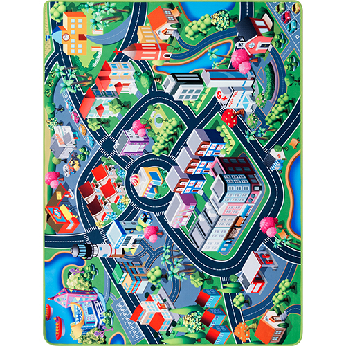 City Playtime Multicolor Rectangular: 4 Ft. x 5 Ft. 3 In. Rug