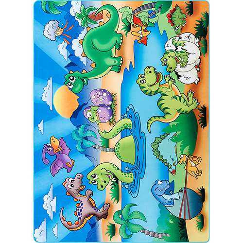 Dino Island Playtime Multicolor Rectangular: 2 Ft. 7 In. x 5 Ft. Rug