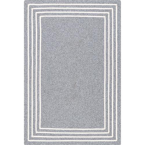 nuLOOM Grey Braided Jubilee Pinstripe Border  Rectangular: 5 Ft. x 8 Ft.