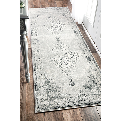 Light Grey Vintage Sherrell Runner: 2 Ft. 6 In. x 12 Ft.