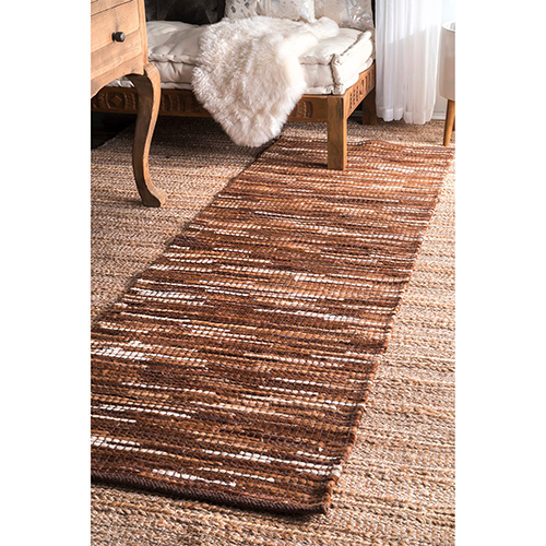 Light Brown Hand Woven Linares Abstract Runner: 2 Ft. 6 In. x 8 Ft.