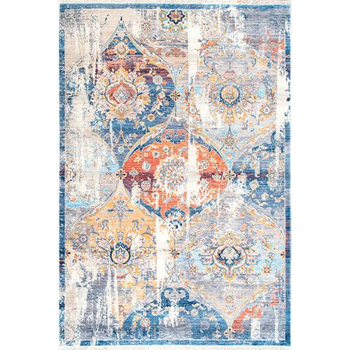 Zenia Floral Fringe Blue Rectangular: 4 Ft. x 6 Ft. Rug