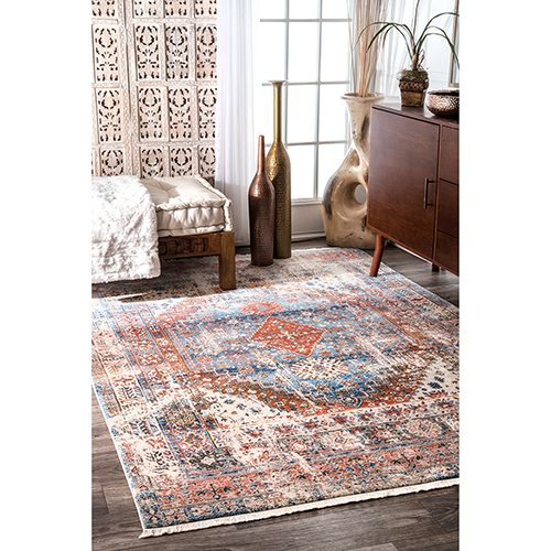 Earley Medallion Fringe Blue Rectangular: 5 Ft. x 7 Ft. 9 In. Rug